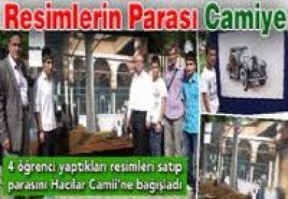 Öğrenciler yaptıkları resimlerin parasını camiye bağışladı