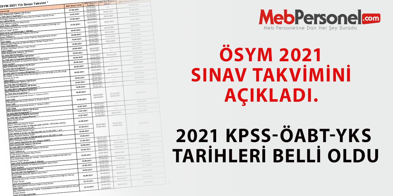 ÖSYM 2021 Sınav Takvimini Açıkladı. 2021 KPSS-ÖABT Tarihleri Belli Oldu