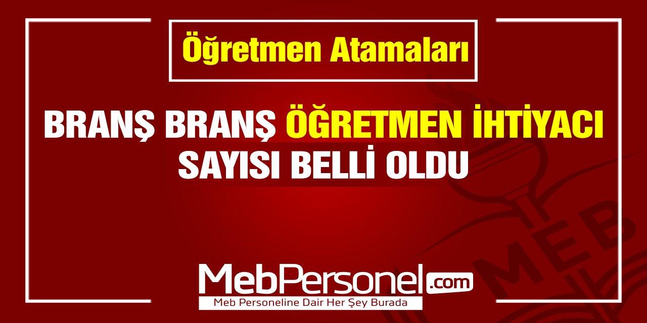 Branş Bazında Türkiye Geneli Toplam Öğretmen İhtiyacı Belli Oldu