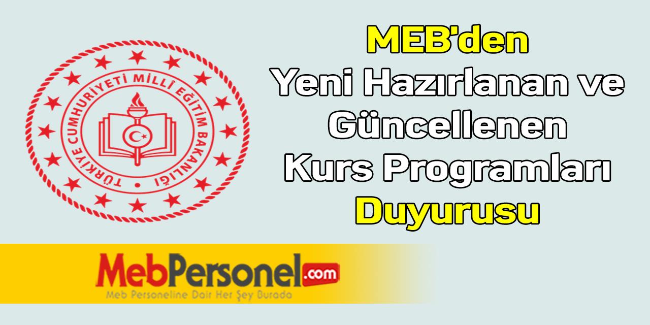 MEB'den ''Yeni Hazırlanan ve Güncellenen Kurs Programları'' Duyurusu