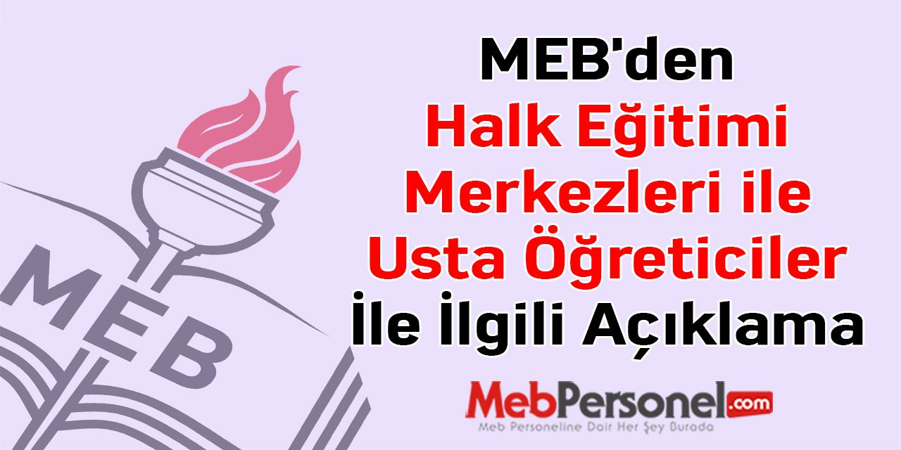 MEB'den Halk Eğitimi Merkezleri ile Usta Öğreticiler İle İlgili Açıklama