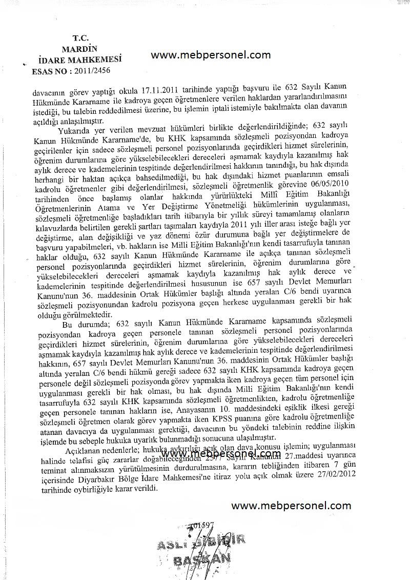 Kpss  Puanı İle ile Kadroya  Geçen Sözleşmeli Öğretmenler İçin Mahkeme Kararı
