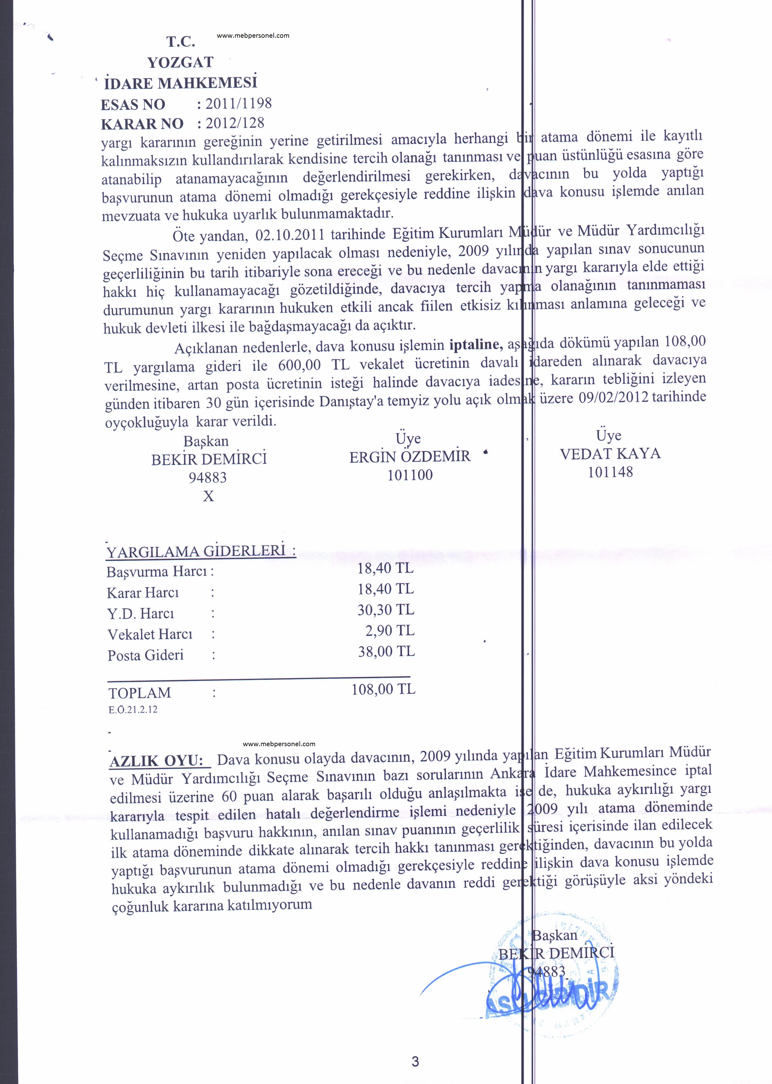 2009 Müdür Yardımcılığı Sınav Puanın Tekrar Değerlendirilmesi i ile İlgili Mahkeme Kararı