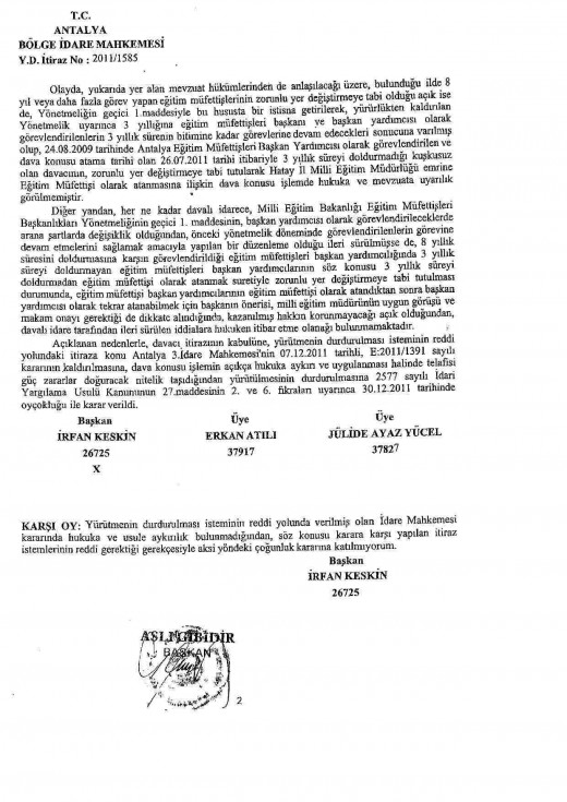 İlköğretim Müfettişlerinin Rotasyonu İle İlgili Mahkeme Kararları