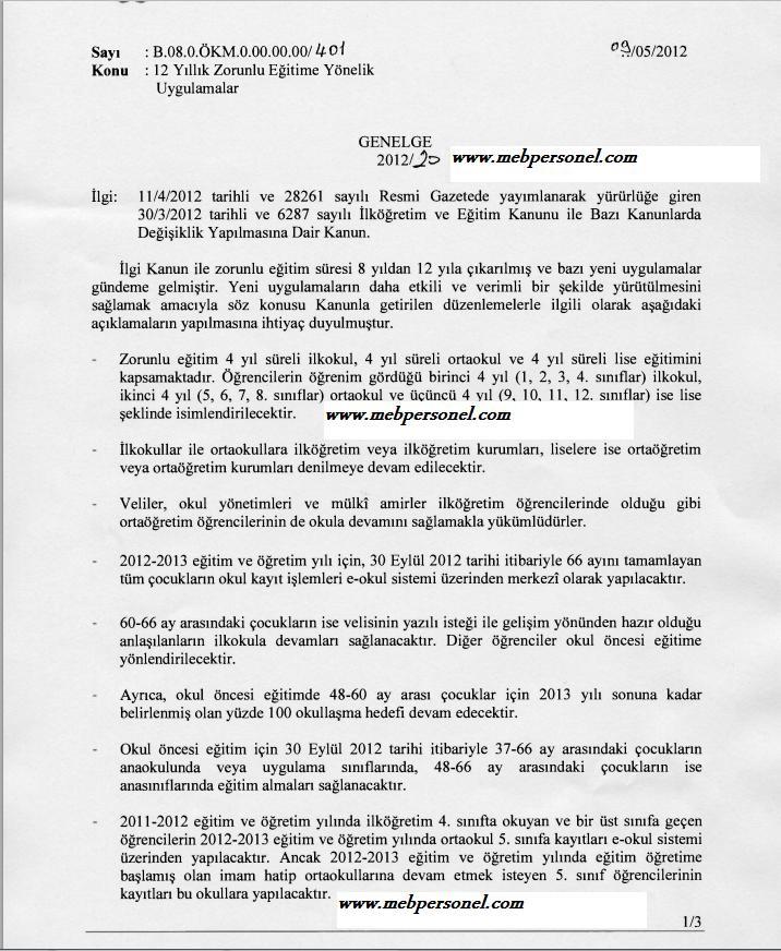 Milli Eğitimi Bakanlığı 4+4+4 düzenlemesiyle ilgili genelgeyi yayınladı.