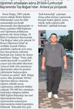 Tüm Atanamayan  Öğretmenler Adına 29 Ekimde Hataydan Ankaraya Yürüyecek
