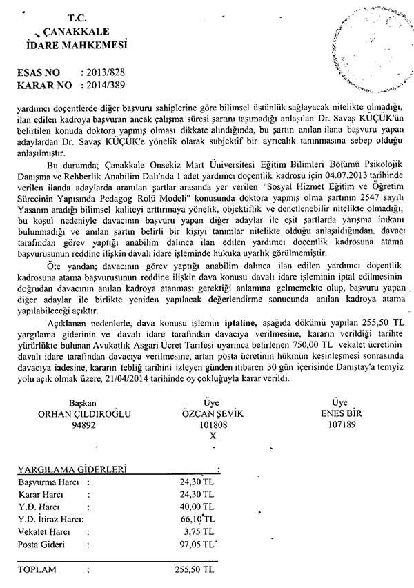 Yardımcı doçentlik ilanına iptal kararı