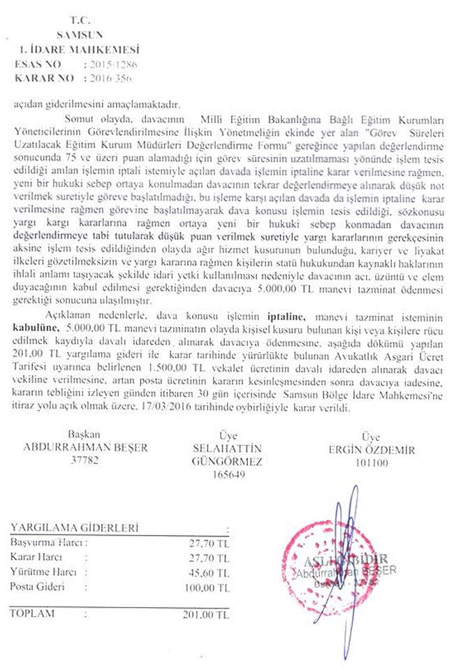 Yargı kararlarını uygulamayan müdüre tazminat cezası