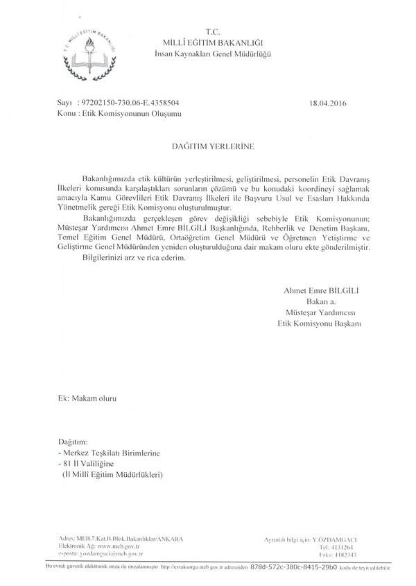 MEB Etik Komisyonu üyeleri değişti