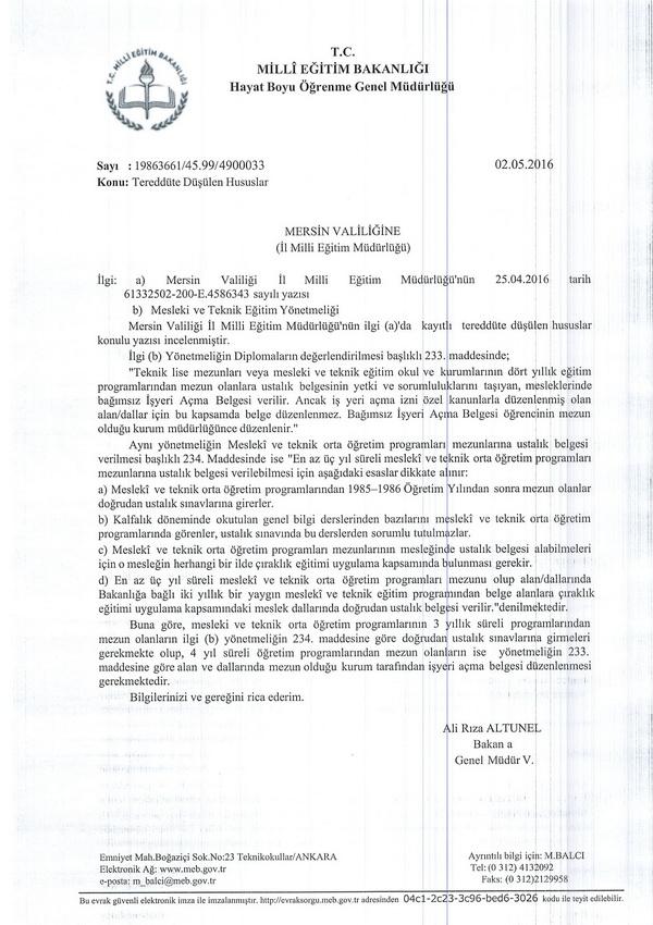 MEB'den işyeri açma belgesi düzenlenmesi açıklaması