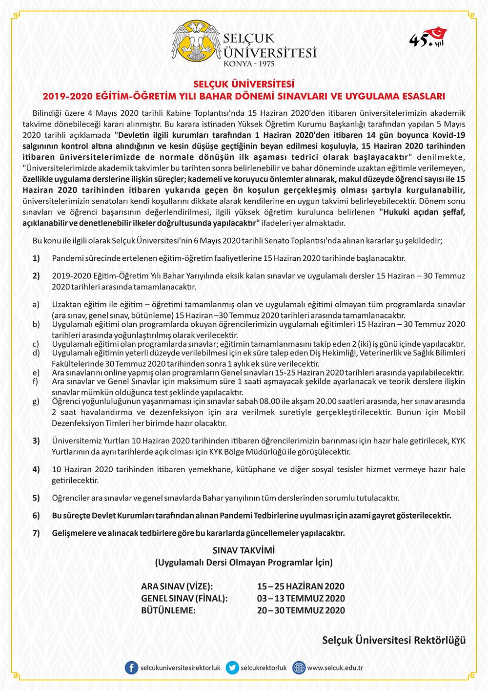 Selçuk Üniversitesi, eğitime başlama kararı aldı