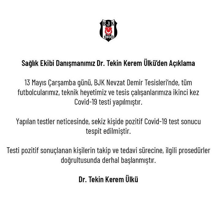 Beşiktaş'tan koronavirüs açıklaması: 8 kişide...