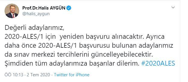 ÖSYM Başkanı Prof.Dr.Halis Aygün'den önemli ALES açıklaması