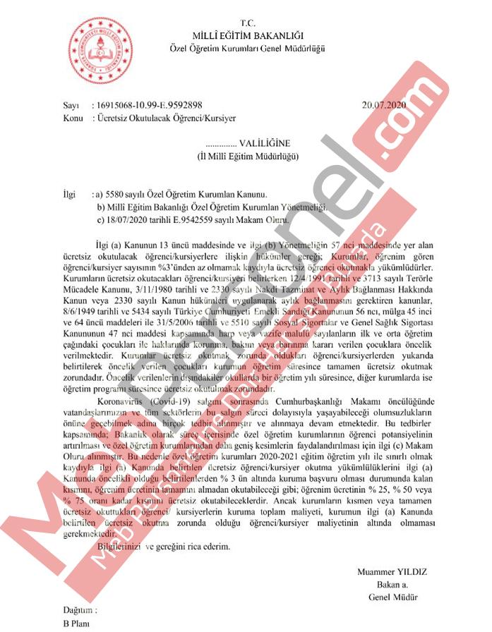MEB'den Resmi Yazı: Ücretsiz Okutulacak Öğrenci/Kursiyer