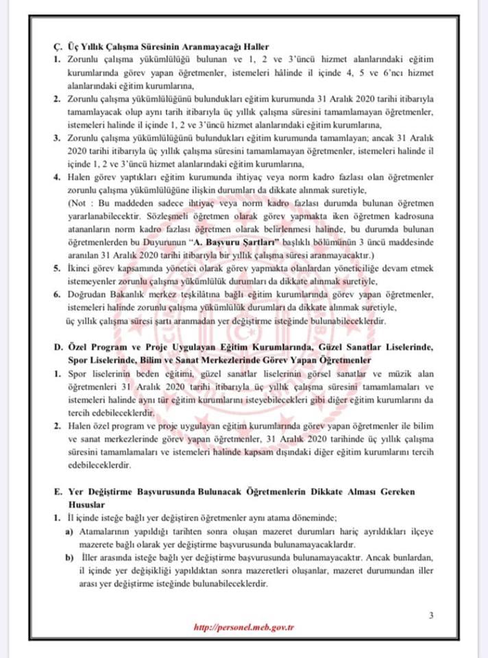 2020 İl İçi Öğretmen İhtiyaç Listesi Açıklayan İller (77 İL)