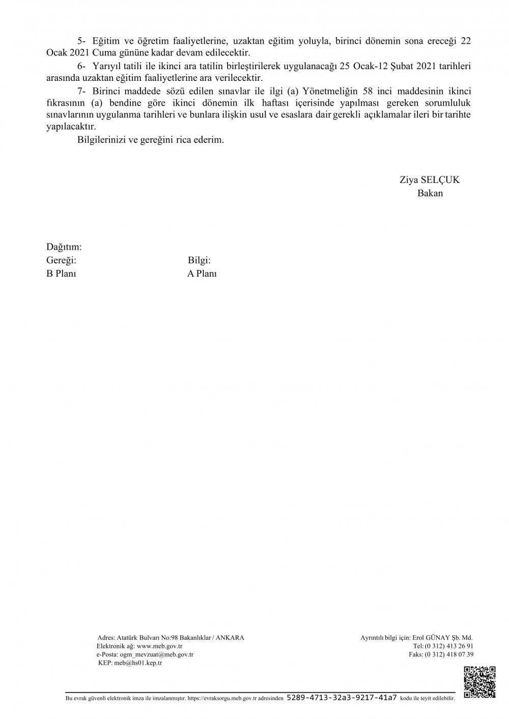 MEB sınavların ertelendiğine dair resmi yazıyı gönderdi