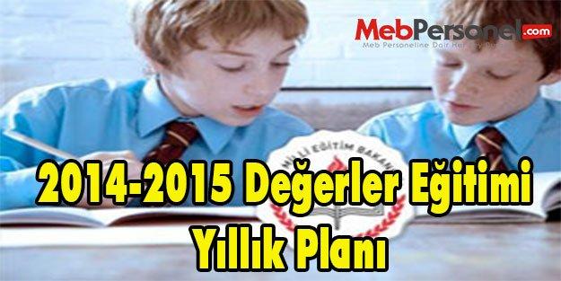 2014-2015 Değerler Eğitimi Yıllık Planı