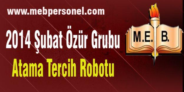 2014 Şubat  Özür Grubu atama tercih robotu.