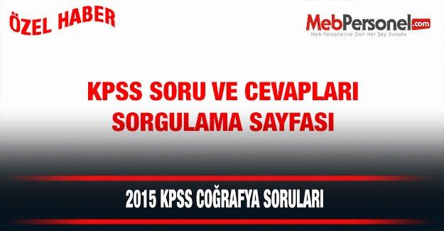 2015 KPSS Coğrafya Soruları ve Cevapları (4 Temmuz 2015)