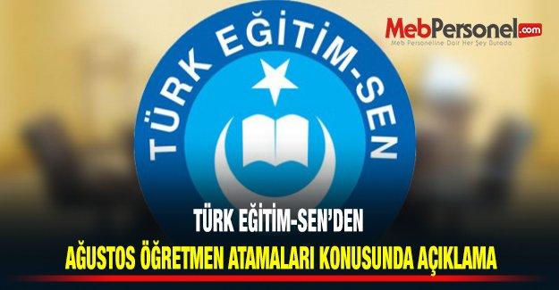 Türk Eğitim Sen'den Ağustos Öğretmen Atamaları Konusunda Açıklama