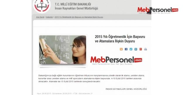 MEB'den 2015 Öğretmen Atamalarına İlişkin Duyuru