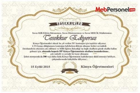 Kimya Öğretmenlerinden MEB'e Teşekkür