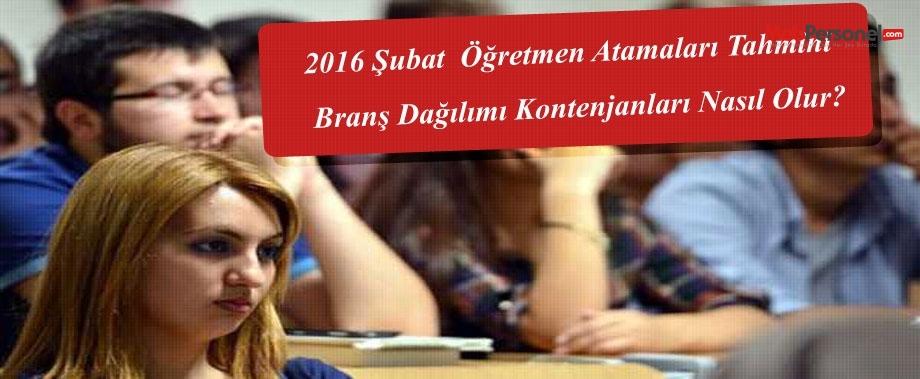2016 Şubat  Öğretmen Atamaları Tahmini Branş Dağılımı Kontenjanları Nasıl Olur?