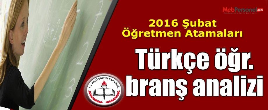 2016 Şubat atamaları Türkçe Öğretmenliği branş analizi