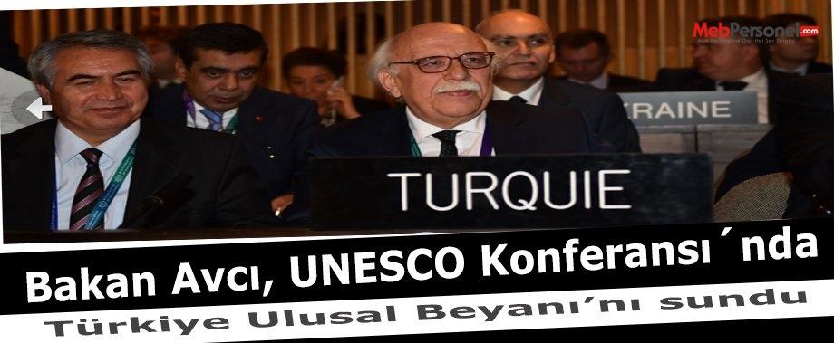Bakan Avcı, UNESCO Konferansı´nda Türkiye Ulusal Beyanı'nı sundu
