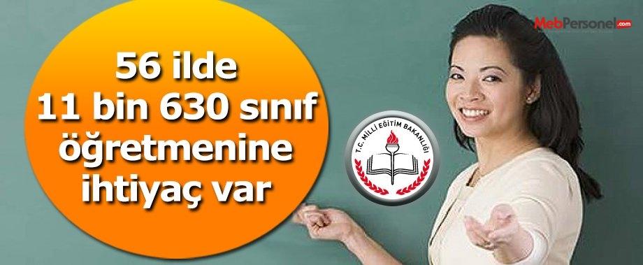 56 ilde Sınıf Öğretmenliği açığı 11 bin 630
