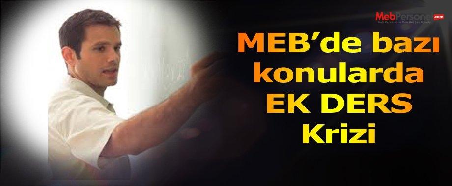 MEB'de bazı konularda ek ders krizi