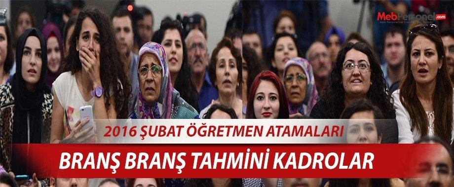 Öğretmen Atamaları Kadroları -2016 Şubat Ataması