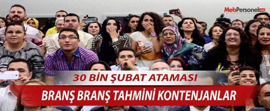 Öğretmen Atamaları Kadroları -30 Bin Şubat Ataması Tahmini Branş Kadroları