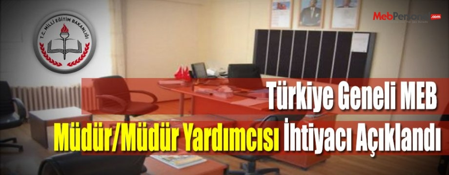 Türkiye Geneli MEB Müdür/Müdür Yardımcısı İhtiyacı Açıklandı