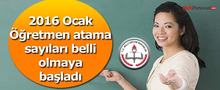 2016 Ocak Öğretmen Atama Sayıları Belli Olmaya Başladı