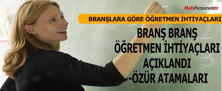 BRANŞ BRANŞ ÖĞRETMEN İHTİYAÇLARI AÇIKLANDI -ÖZÜR ATAMALARI