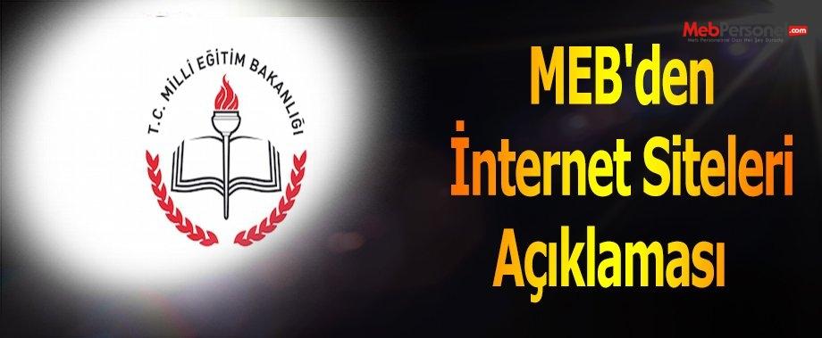 MEB'den İnternet Siteleri Açıklaması