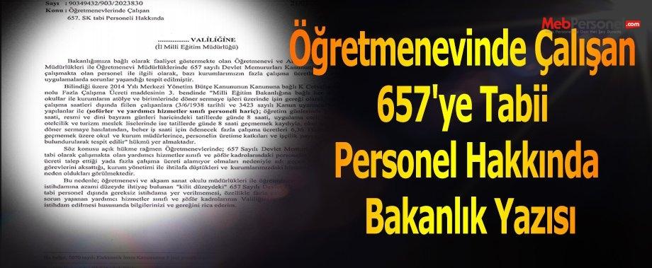 Öğretmenevinde Çalışan 657'ye Tabii Personel Hakkında Bakanlık Yazısı
