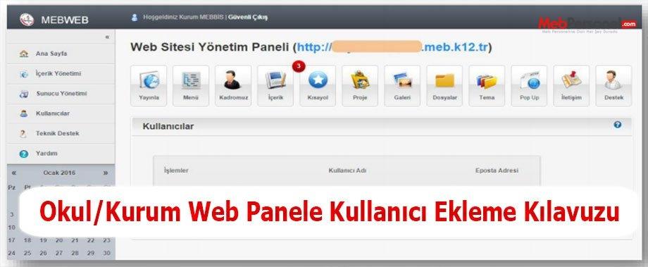 Okul/Kurum Web Panele Kullanıcı Ekleme Kılavuzu