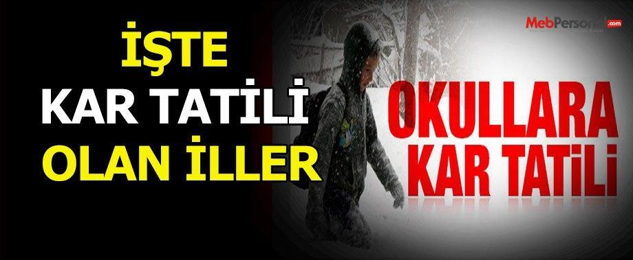 Okullara Kar Tatili Olan İller (21 Ocak Perşembe)