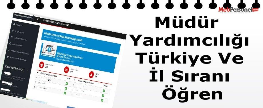 Müdür Yardımcılığı Deneme Sınavı İle Türkiye Ve İl Sıranı Öğren