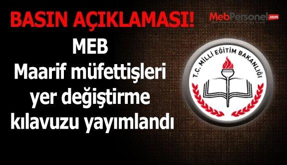 MEB Maarif müfettişleri yer değiştirme kılavuzu yayımlandı