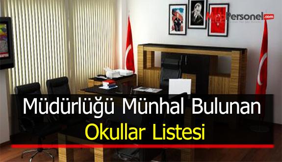 Müdürlüğü Münhal Bulunan Okullar Listesi (81 İL)