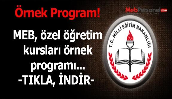 Özel öğretim kursları örnek programları