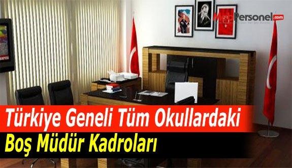Türkiye Geneli Tüm Okullardaki Boş Müdür Kadroları