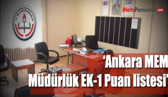Ankara MEM Müdürlük Ek-1 Puan Sıralamalı Liste