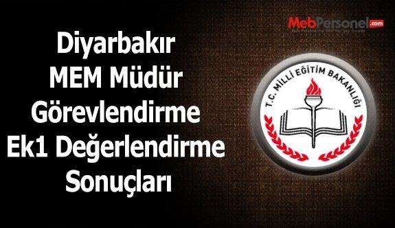 Diyarbakır MEM Müdür Görevlendirme Ek1 Değerlendirme Sonuçları