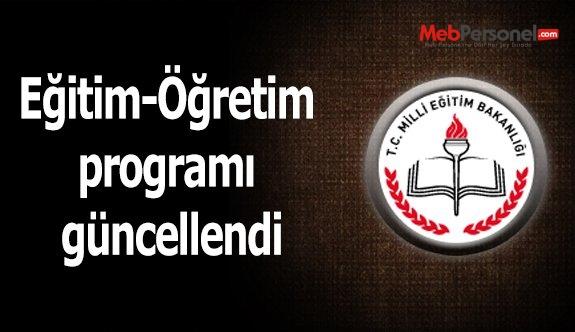 Eğitim-Öğretim programı güncellendi