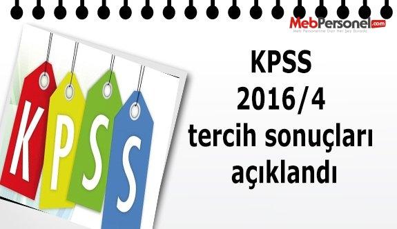 KPSS 2016/4 tercih sonuçları açıklandı