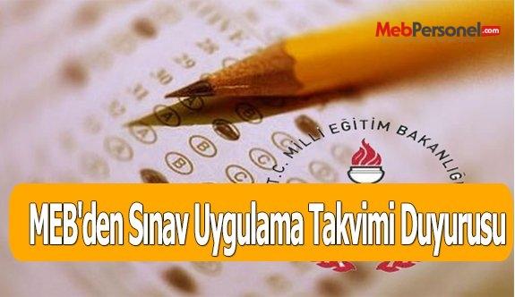 MEB'den Sınav Uygulama Takvimi Duyurusu